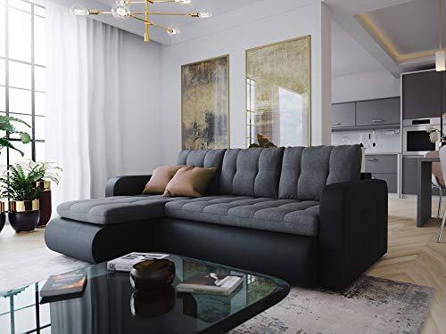 Nowak MebLiebe Ecksofa Vegas Couch Sofa mit Schlaffunktion 235x152x85 cm Bett Gesteppt Design Wohnzimmer (Schwarz-Grau)