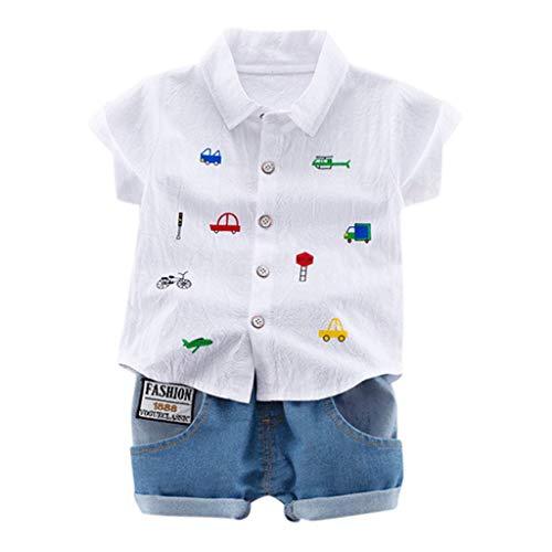 Julhold Kind Baby Junge Süß Mode Herren Cartoon Krawatte Slim Tops T-Shirt + Kurze Hose Outfit Set Kleidung 0-4 Jahre