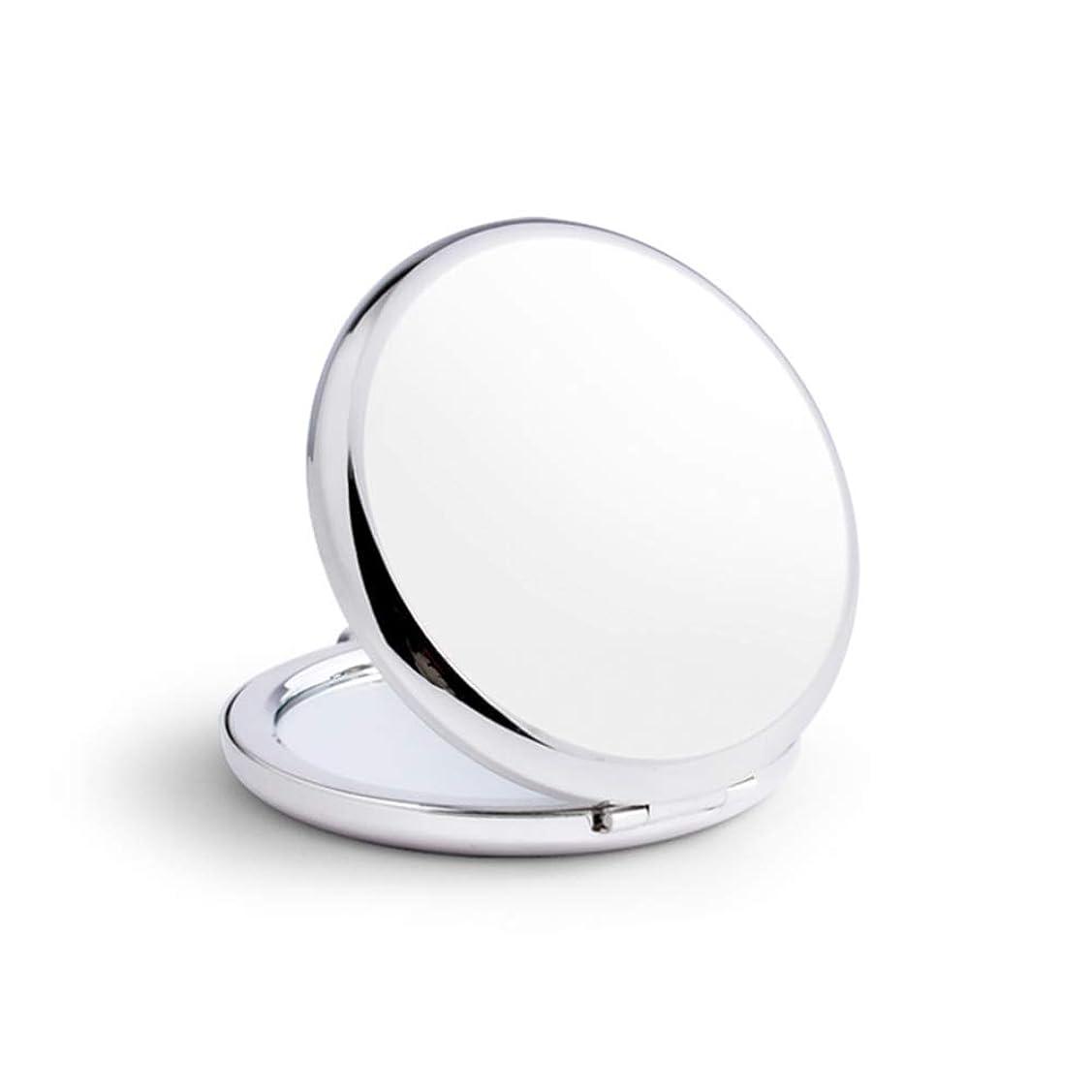 交換可能プレゼントスケルトン小さな鏡ステンレス鋼鏡鏡手鏡女姫携帯折りたたみ両面180度回転(丸) (銀)