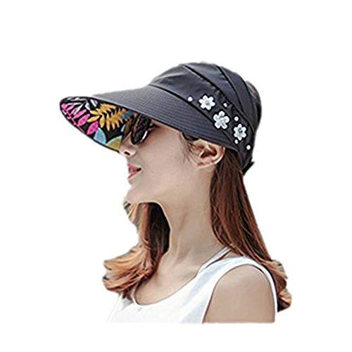 QYLT Mujer Gorra de Béisbol Algodón Visera Ocio Gorra para Sol Protector Solar Anti-UV Sombrero, Sombrero de Sol Ocio Verano Sombrero de Playa Viaje Plegable Sombrero de ala Ancha