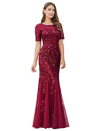 Ever-Pretty Sirena a Fiori Vestido de Noche Lentejuela Tul Vestido de Fiesta Manga Corta Largo Borgoña 40