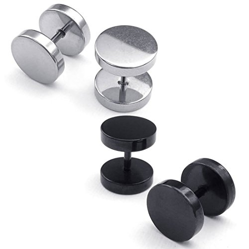 Beauneo Pendientes de Hombres de joyeria, Pernos de oido de circulo, 4mm 2 Pares, Negro Plata - Acero Inoxidable