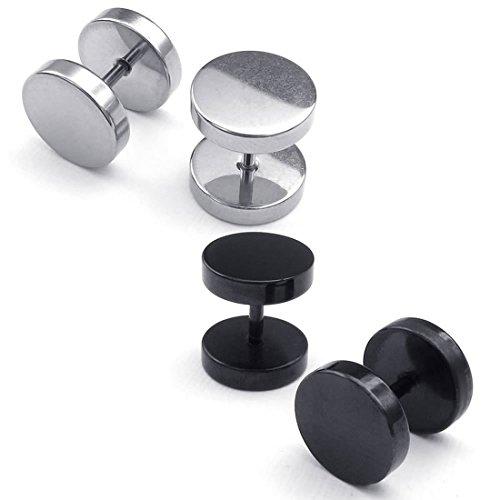 Pendientes de hombres - TOOGOO(R) Pendientes de hombres de joyeria, pernos de oido de circulo, 6mm 2 pares, Negro Plata - Acero Inoxidable