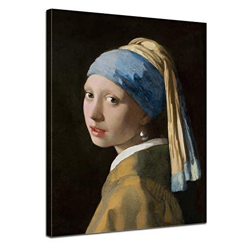 Bilderdepot24 Wandbild Jan Vermeer Das Mädchen mit dem Perlenohrgehänge - 40x50cm hochkant - Alte Meister Gemälde auf Leinwand Wandkunst Leinwandbild