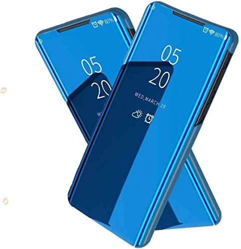 TiHen Spiegel Schutzhülle für Samsung Galaxy On5 2016 Hülle, Smart-Fenstertasche Überzug Spiegel Flip Cover +Panzerglas Schutzfolie 2 Stück,Handyhülle Lederhülle Etui mit Standfunktion -Blau