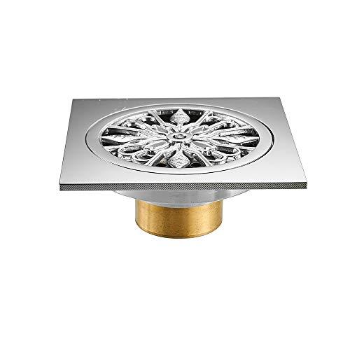 MOODSC Abflüsse 10 * 10cm festes Messingchrom-Silber-Duschabfluss-Badezimmer-Quadrat-Abdeckungs-Antigeruch-Haar-Sieb-Balkon-Boden-Abfluss,Stylet