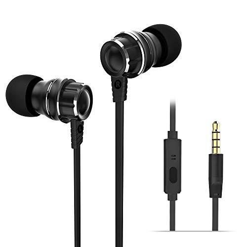 Wieppo Auriculares con Cable 3D con Micrófono - Auriculares in-Ear con micrófono y Auriculares aislantes de Ruido (140 cm, para iPhone, iPod, Samsung, HTC, Reproductores MP3 y MP4) Negro