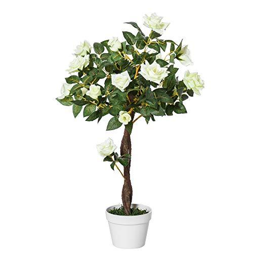 Outsunny Rosa Alberello Artificiale con 21 Fiori e Vaso, Pianta Finta Interno ed Esterno Alta 90cm, Bianco e Verde