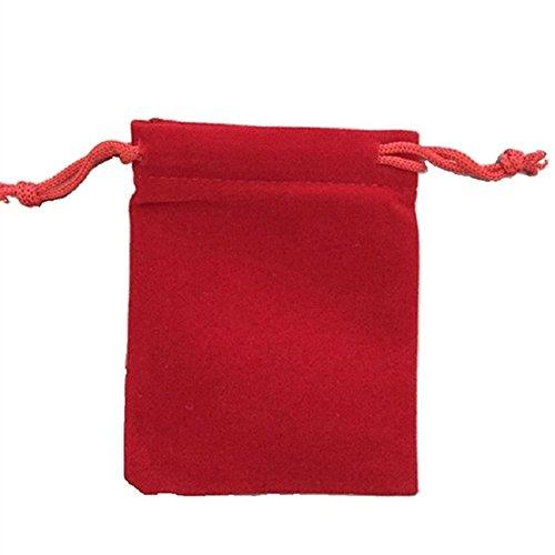 KUPOO 50Stück Großhandel–Rot Samt Tuch Schmuck Beutel/Kordelzug Staubbeutel 7,6x 10,2cm