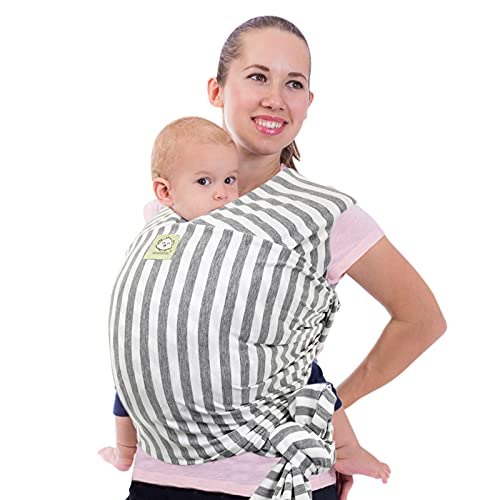 Baby Wrap Carrier - All in 1 Stretchy Baby Sling - Baby Carrier Sling - Baby Carrier Wraps - Baby Carriers for Newborn, Infant - Baby Holder Straps - Baby Slings - Baby Sling Wrap (Gray Stripes)