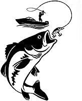 UYEDSR 車のステッカー 12.3CMX17.1CM興味深い釣り漁師ホビーフィッシュボートカーステッカービニールデカール-Black_2pc s