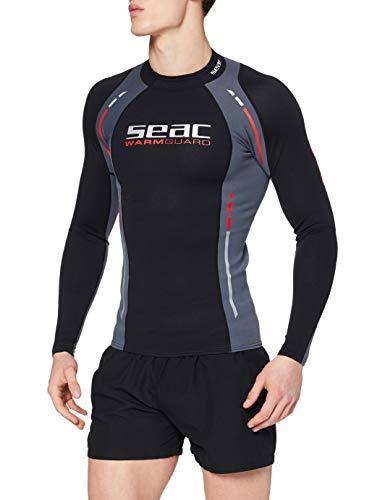 Seac Warm Guard Long - Chaleco protector térmico manga larga, para hombre, en neopreno de 0,5 mm, protector contra salpicaduras para el buceo y la natación anti-UV, Negro/Gris, L
