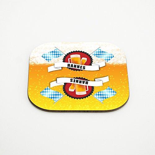 Untersetzer für Bier-Gläser mit Namen Hannes und schönem Bier-Motiv mit weiss-blauen Flaggen