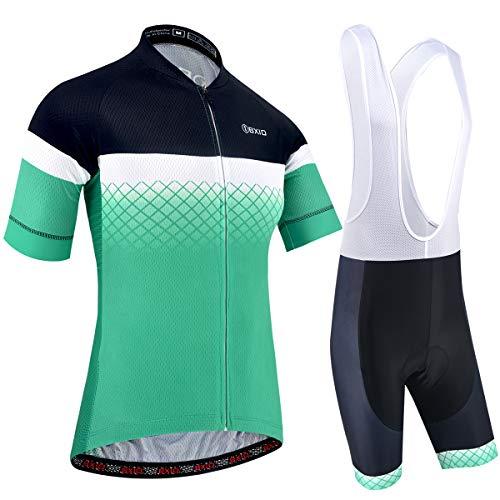 BXIO Conjunto de Ciclismo para Hombre Manga Corta y Pantalones Cortos Acolchados de Gel 5D Ropa de Ciclismo Transpirable de Secado rápido 206 (Green(206, Bib Shorts),  L)