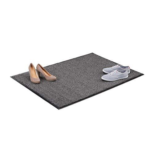 Relaxdays Paillasson gris chiné tapis d'entrée couloir intérieur extra plat mince 90 x 120 cm, noir-gris
