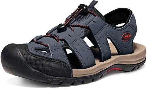 ATIKA Men's Outdoor Hiking Sandals, Lightweight Trail Walking Sandals, Closed Toe Athletic Sport Sandals, Summer Water Shoes, Cairo(m108) - Navy, 10