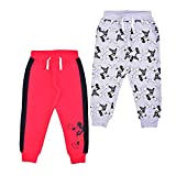 Disney Boy's Jogger Pants Set, Athletic Sweatpants with Mickey Mouse Print, Red/Grey, Size 3T