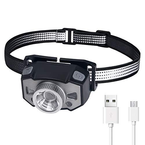Flintronic Linterna Frontal LED, USB Recargable 1200mAh Linterna Cabeza, Linternas de Cabeza...