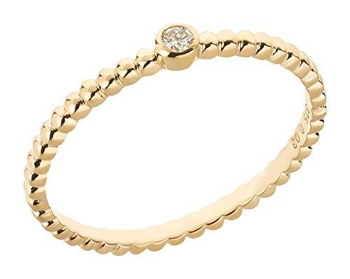 Ardeo Aurum Damenring aus 375 Gold Gelbgold mit 0,03 ct Diamant Brillant in Zargenfassung Solitär-Kugeln-Ring Verlobungsring Gr. 54