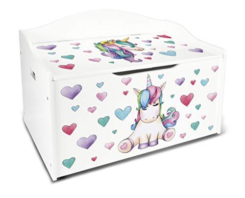 Leomark Caja de Madera XL Banco Blanco con Almacenamiento para Juguetes, Accesorios Baúl de Juguetes Tema: Unicornio, Dim: 68 x 42 x 46 (alto) cm