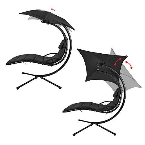 BB Sport Schwebeliege Hängeliege in vielen Farben Schwingliege Sonnenliege mit Sonnenschirm, Auflagen und Nackenkissen, bis 150 kg belastbar, Farbe:Titanschwarz - 4