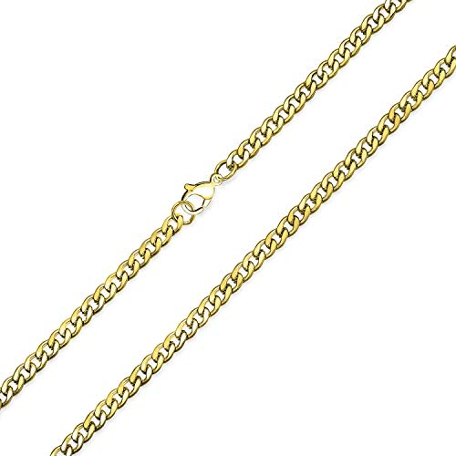 """Bling Jewelry 4mm Kette Kubanischer Bordstein Herren Halskette Vergoldet Edelstahl Schmuck Hals glied Ketten für Männer Teen Männlich 20\""""Zoll"""