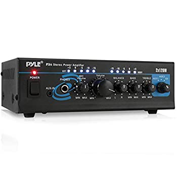 Home Audio Power Amplifier System - 2X120W Mini Dual Channel Mixer Sound Stereo Receiver Box w/ RCA AUX Mic Input - For Amplified Speakers PA CD Player Theater Studio Use - Pyle PTA4 Black