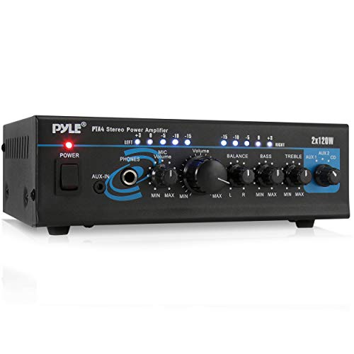 Home Audio Power Amplifier System - 2X120W Mini Dual Channel Mixer Sound Stereo Receiver Box w/ RCA, AUX, Mic Input - For Amplified Speakers, PA, CD Player, Theater, Studio Use - Pyle PTA4 Black