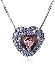 Carnevale Sterling Silver Purple Heart with Swarovski Elements Pendant Necklace, 18