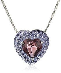 Carnevale Sterling Silver Purple Heart with Swarovski Elements Pendant Necklace, 18