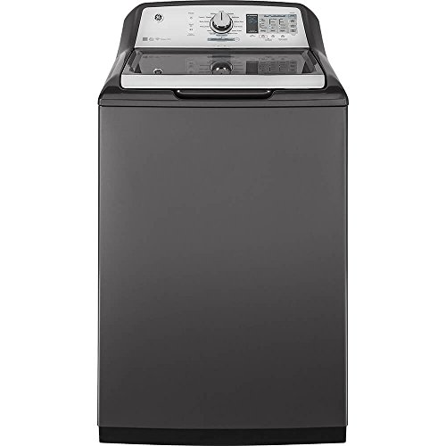 GE GTW750CPLDG Washer with Stainless Steel Basket, 5.0 Cu. Ft. Capacity, 13 Cycles with Water Station, Gray,