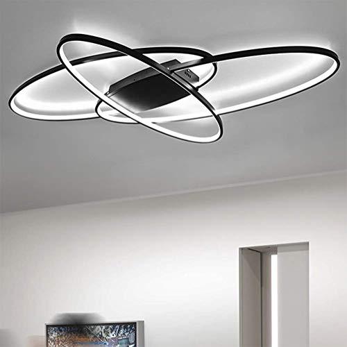 LED Deckenleuchte Lampen Dimmbar Deckenlampe Modern Oval Decke Hängeleuchte Fernbedienung Metall Acryl Schirm Esszimmer Esstisch Büro Badlampe Küche Wohnzimmer Kronleuchter,Schwarz,6500k