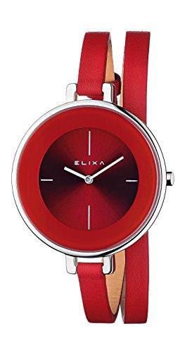 Elixa Bain de Soleil E063-l192Femme Rouge Classique Double Wrap Montre Rouge Cadran Sunray