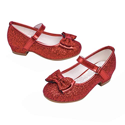 STELLE Girls Mary Jane Glitter Shoes Low Heel Princess Flower Wedding Party Dress Pump Shoes for Kids Toddler(Red, 7MT)