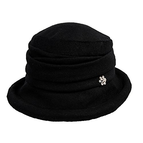 Comhats Wolle 1920s Retro Glockehut Fischerhut für Damen Klassisch klappbar Bowler Hut Winter schwarz