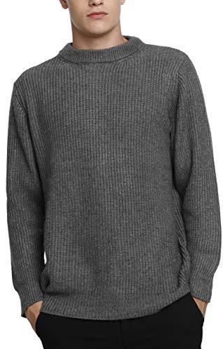 LinyXin Cashmere Herren Kaschmir Wolle Rundhals Warm Pullover Langarm Freizeit Winter Pulli Sweater (M, Grau)