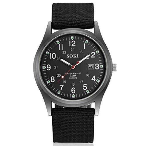 Challeng Herrenuhr LED Sportuhr Leder Quarz Analog Digital Business Armbanduhren Mode 2019 Neue kreative Persönlichkeit Quarzgürtel Herrenuhr (Schwarz)