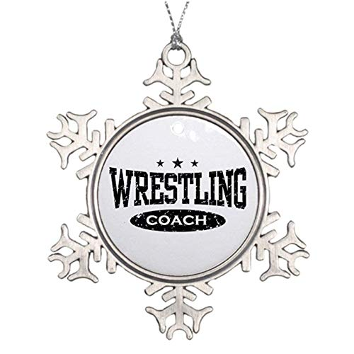 Rebbygena Novelty Decoration Wrestling Coch Christmas Ornaments Metal Snowflake Christmas Tree Hanging Keepsake 3 Inches Xmas Tree Hanging