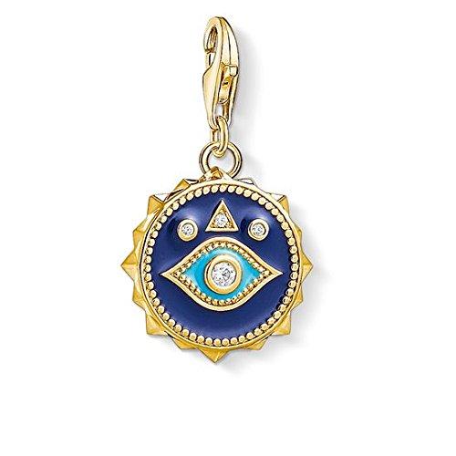 Thomas Sabo - Colgante Charm de Mujer ' Ojo de Nazar Azul Charm Club', Plata de Ley 925, baño de oro amarillo de 18 quilates, Dorado