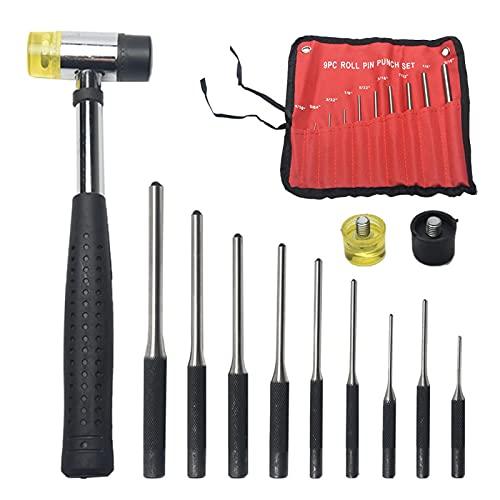 Juego de 9 punzones de rodillo con bolsa de almacenamiento, kit profesional de herramientas de extracción de alfileres de mano para reparación de automóviles/joyería/relojes