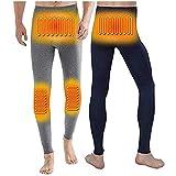 電熱インナーパンツ メンズ 電熱パンツ 両面着用 4つ発熱部(腰・腹・膝)3段温度調整 炭層繊維 (ネイビー/グレー, L)