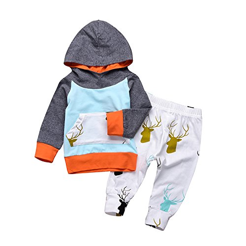 Funnycokid 2PCs Neonato Bambino Ragazze Ragazzi Carina Outfits Elk Stampa con Cappuccio + Pantaloni Lunghi Autunno Inverno Vestiti Set
