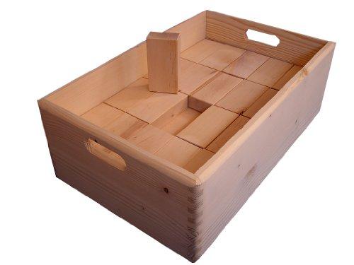 """Baukid Holzbauklötze """"Kiste 60"""", stabile Holzkiste gefüllt mit 60 unbehandelten Bauklötzen für viele neue Spielideen, geeignet für Kindergarten- und Schulkinder, große Klötze aus unbehandeltem Holz aus nachhaltiger Forstwirtschaft, fördert die Kreativität Ihres Kindes – ideal als Geschenk"""