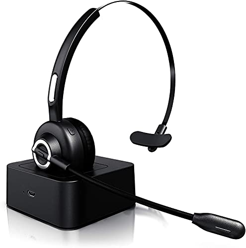Auriculares inalámbricos Bluetooth con Micrófono-Mono Tipo Diadema-Auricular Inalambrico para Telefono Fijo con Base de Carga/Manos Libres/Cancelación de Ruido/300°Girar