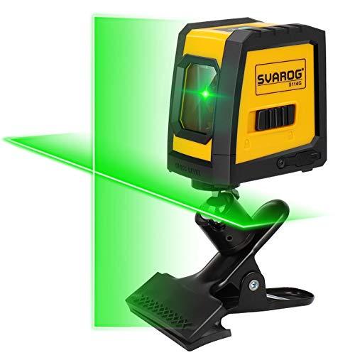 Svarog Kreuzlinienlaser grün S114G Linienlaser Level Selbstnivellierenden und Neigungsfunktion Laser Level mit Drehbare Halterung