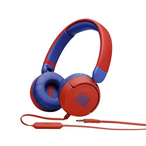 JBL Jr310 On-ear kinderkoptelefoon in rood-blauw - bekabelde koptelefoon met headset en afstandsbediening - ideaal voor school en vrije tijd