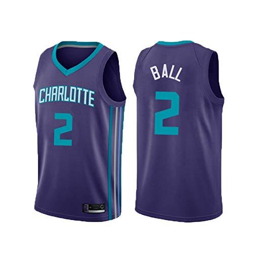 JSQU Chaleco de Baloncesto de Ball # 2Hornets de los Hombres, Uniforme de Baloncesto Adulto, Fan Jersey, Malla de poliéster, Adecuado para la Competencia y la formación S