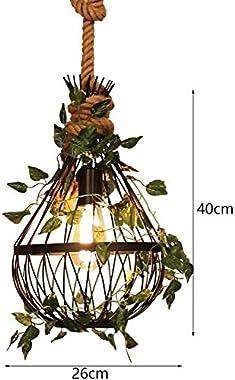 Modern simple restaurant decoration ceiling hanging lamp art plant decoration iron cage chandelier creative adjustable hemp r