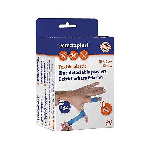 Detectaplast Pflaster wasserfest Elastic, blaue Wundpflaster für den Lebensmittelbereich, detektierbare Pflaster für Erste Hilfe in der Gastronomie, 180 x 20 mm, 32 Stück, einzelnd verpackt