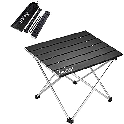 SYOURSELF Folding Camping Table, Portable Aluminum Camp Table Desk Lightweight Durable Compact Roll Up Picnic Tables for Indoor Outdoor Camp Hiking BBQ Backpacking Travel Fishing Beach(Black)